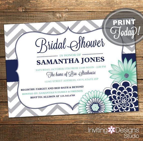 Chevron Bridal Shower Invitation / Wedding by InvitingDesignStudio