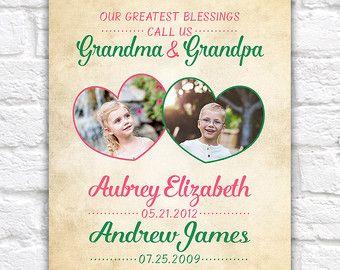 Grandparents and Grandchildren Gifts, Kids Birthdates, Fathers Day Gift, Grandpa, Grandma, Grandmother Birthday, Nana, Family Photos | WF506