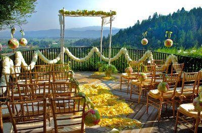 Love the decor and #flowers for this outdoor wedding ceremony! Flowers by http://bvflorals.com.