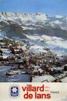 Affiche originale de Villard-de-Lans 1050-1950 m - Isère, France - La télécabine de la Côte 2000