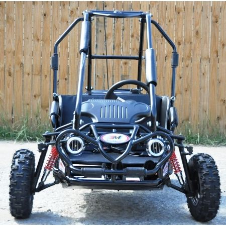 The Trailmaster Go Kart XRS Mini Size (ages 5 to double seat, full  suspension Go Kart powered by a hp Engine and features drive and  centrifugal clutch.