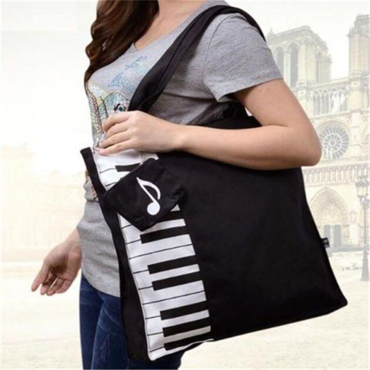 Canvas Musical Instrument Tote Bag Shoulder Bag Keyboard Piano Design Decorate ♫