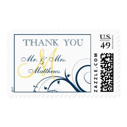 Yellow Wedding Thank You Cards Blue Swirls Yellow Monogram Wedding Thank You Postage Stamp