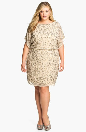 Adrianna Papell Sequined Chiffon Blouson Dress (Plus) available at #Nordstrom