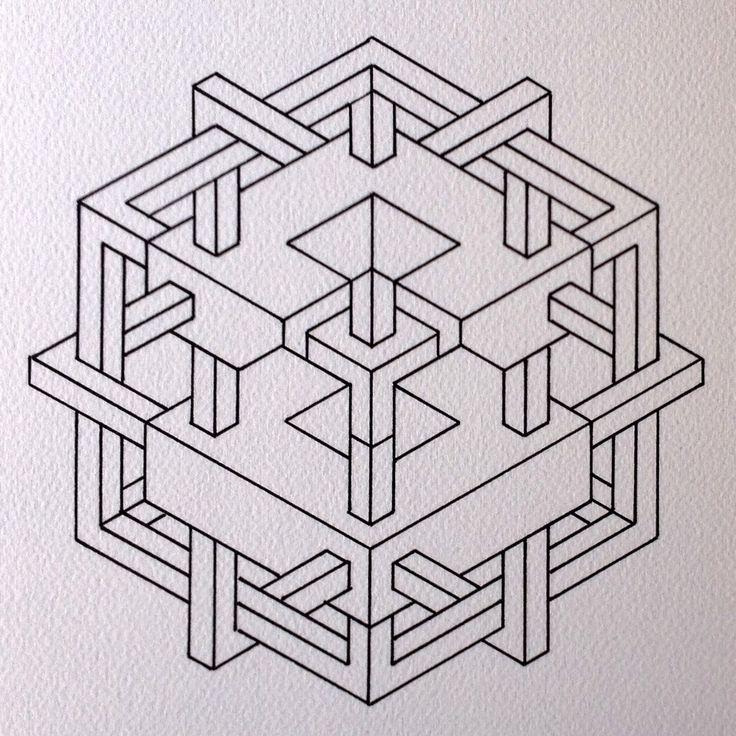 #impossible #isometric #geometry #symmetry #pattern #handmade #ink #mathart #regolo54 #oscarreutersvärd #Escher #hexagon