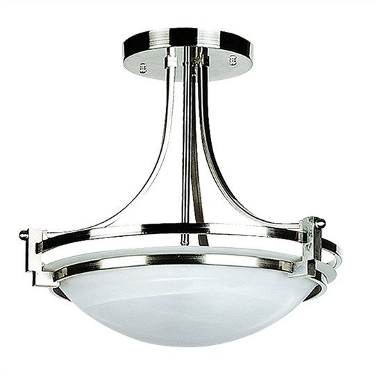 Vaucluse Alabaster Glass 3 Light Ceilling Light - Satin Chrome