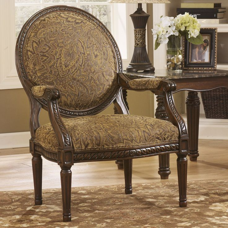 signature design by ashley cambridge showood accent chair amber elaborately carved and generously scaled the signature design by ashley cambridge