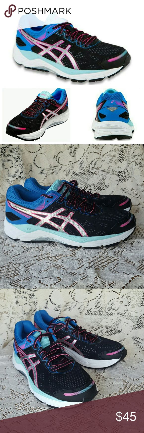 ASICS wms 10.5 Gel fortitude 7 pink blue black Asics  Gel fortitude 7 Womens size 10 1/2 Black white pink blue & aqua Excellent, nearly new condition! The only sign of wear is the ASICS logo on the inside sole of the shoe is almost worn off of each shoe bought at my local running store a few months ago for $120 & this style are still currently for sale there Smoke free home with pets Asics Shoes Athletic Shoes