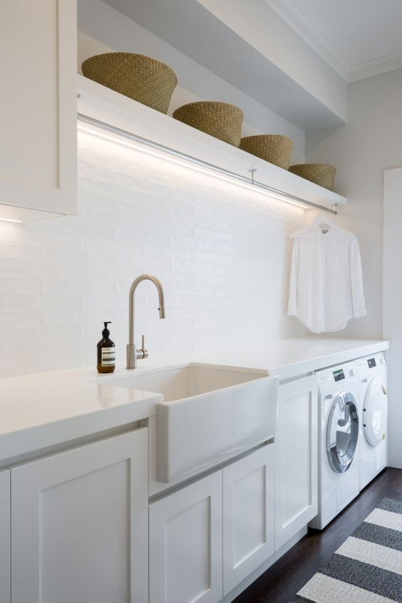 A fresh, Hamptons style laundry with ample hanging space. Notice the clever stri… #For the Home
