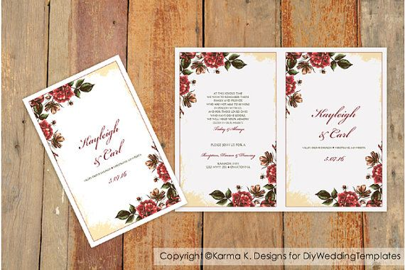 Wedding Program Template  Country Rose by DiyWeddingTemplates, $8.00