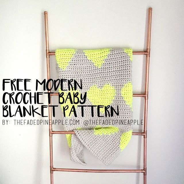 Modern Crochet Patterns : Multi Hearts Modern Tapestry Crochet Baby Blanket Pattern