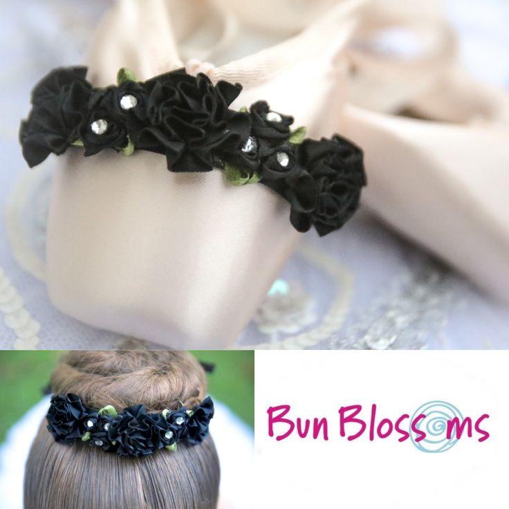 Classic Black sparkle flower ribbon bun by BunBlossomsBoutique