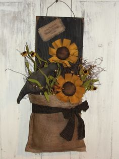 Crow and Sunflower Wall Board with Burlap Pouch