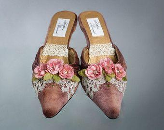 Women's Velvet Shoes, Brown Velvet Mules, Marie Antoinette Shoes,18th Century Shoes, Birthday Present, Christmas Present, Size 7,5.