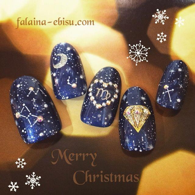 ネイル 画像 FALAiNA(ファレナ) 恵比寿 742366 ブルー ギャラクシー 冬 ソフトジェル ハンド