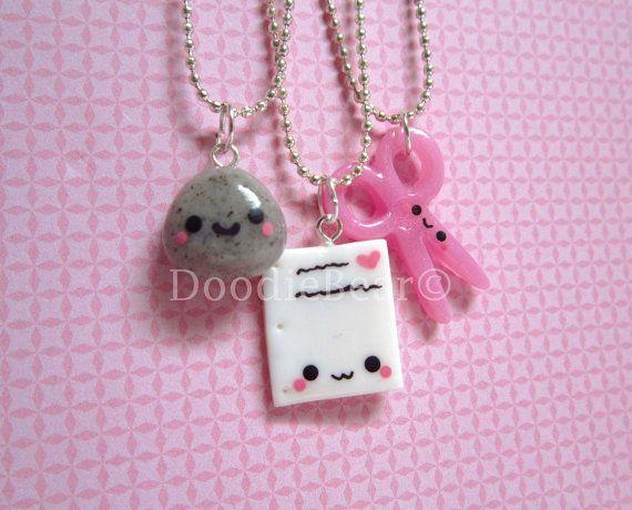 Rock Paper Scissors Best Friends Kawaii Cute Polymer by DoodieBear, $30.00