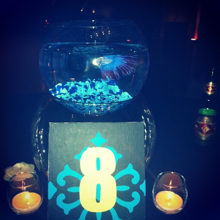 i am so doing this! its beta fish centerpiece! so different and so cute! (credit goes to my friends cousins wedding! lol)