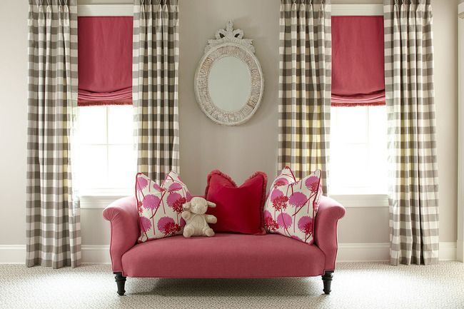 Cutest girl room ever!Little Girls, Colors Combos, Romans Shades, Girls Room Curtains, Colors Design, Interiors Design, Interiors Decor Curtains, Windows Treatments, Buffalo Check