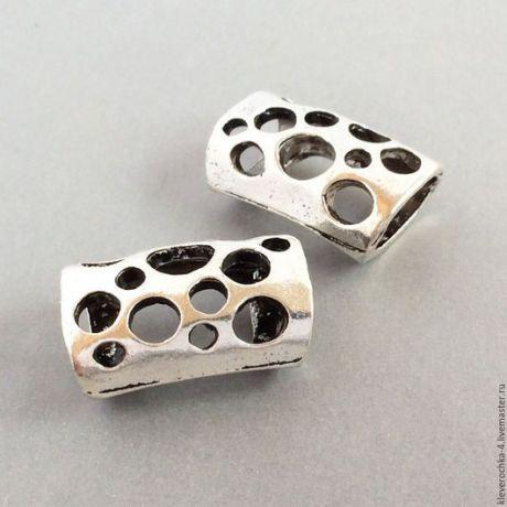 Купить Бусины для шнуров 21 мм цвет серебро аничное для украшений - серебряный, фурнитура бижутерия
