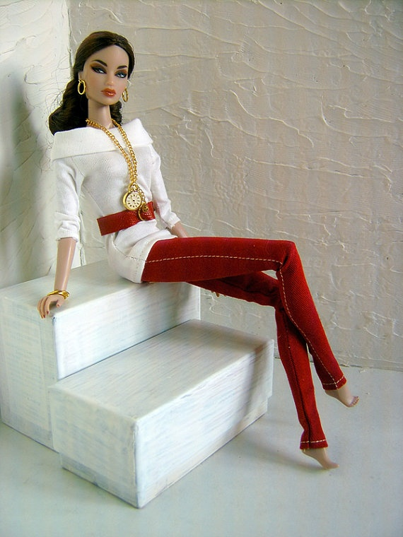 White Lady Demin Outfit for Fashion Royalty by by Delmoltoamore