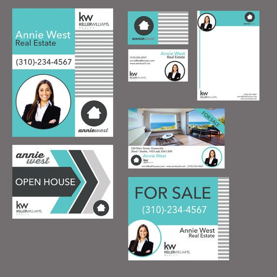 Modern Realtor pre-designed package keller williams signs, postcards, business cards, open house etc. Branding for Real estate; complete package