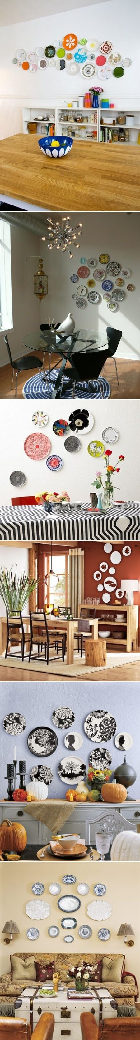 DIY Plates Wall Collage. Lovely. Perhaps would be ideal between my kitchen  cupboards and