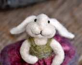 Needle felted Bunny Rabbit wearing a wool pink and green dress - needle felted animal