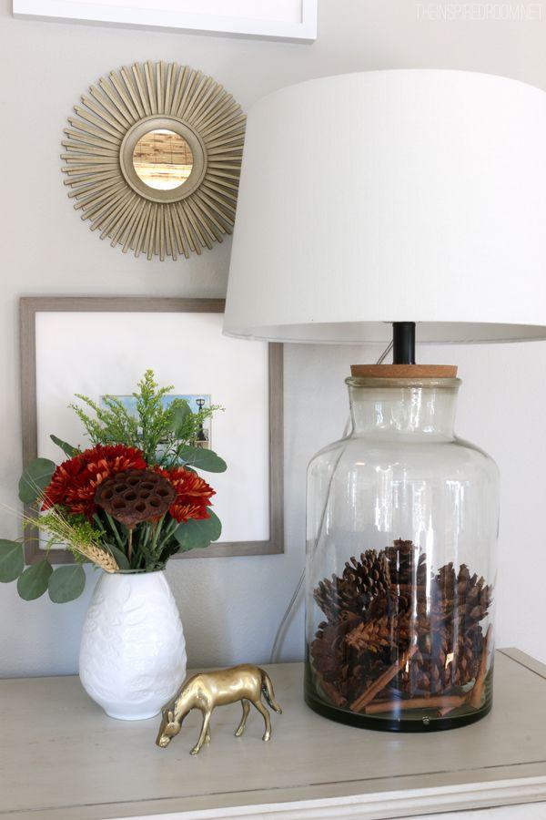 Seasonally Filled Jar Lamp - Fall Pinecones Kristin and Kara for your lamps.