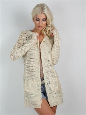 Zanca sonne -  Creme farvet lang strikket boheme cardigan med lommer
