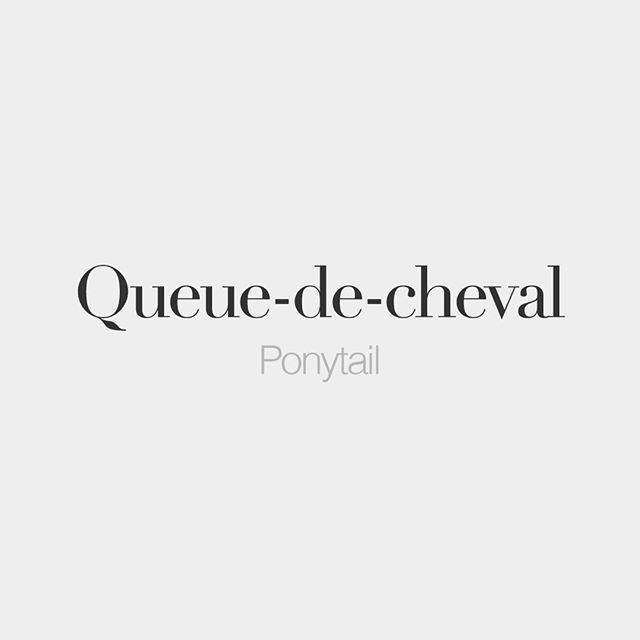 Queue-de-cheval (feminine word, literally: horse tail) • Ponytail • /kø də ʃə.val/ #frenchwords