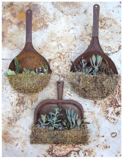 Two ol' skillets and a dustpan have become homey, rustic, container gardens. See source for even more container suggestions.