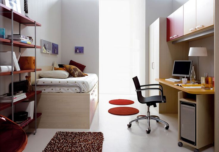 Remarkable Modern Teenage Bedroom Ideas For Boys And Girls : Captivating Modern Teens Room Design With Minimalist Furniture Feats Wooden Study Desk With Computer Desk Cabinet Attached With Wardrobe And Wooden Day Bed With Drawers