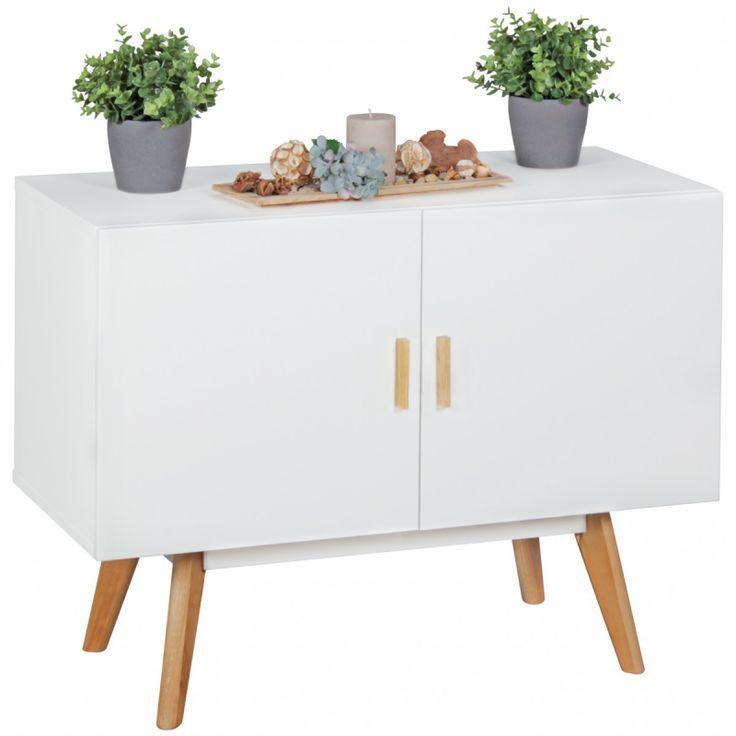 Scandinavisch retro dressoir sideboard kast Scanio van 90 cm breed met twee deuren in mat wit met eiken hout van het merk Wohnling met afgeronde poten