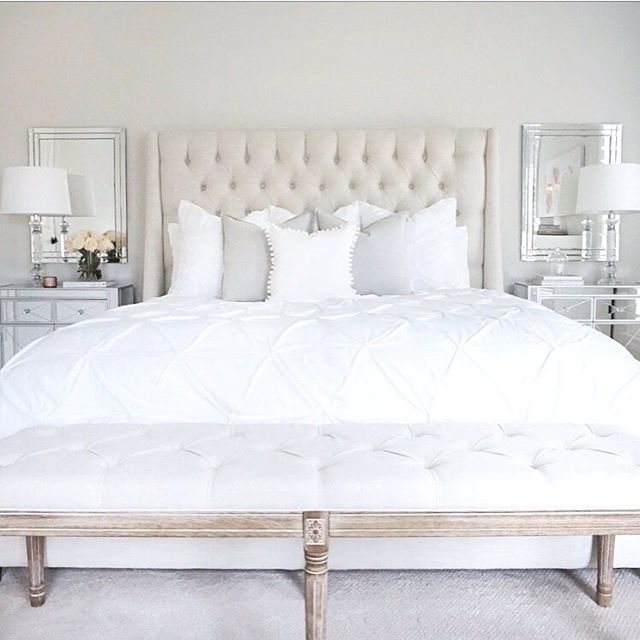 Bedroom arhaus tufted linen bed mirrored nightstands tufted linen bench @thedecordiet