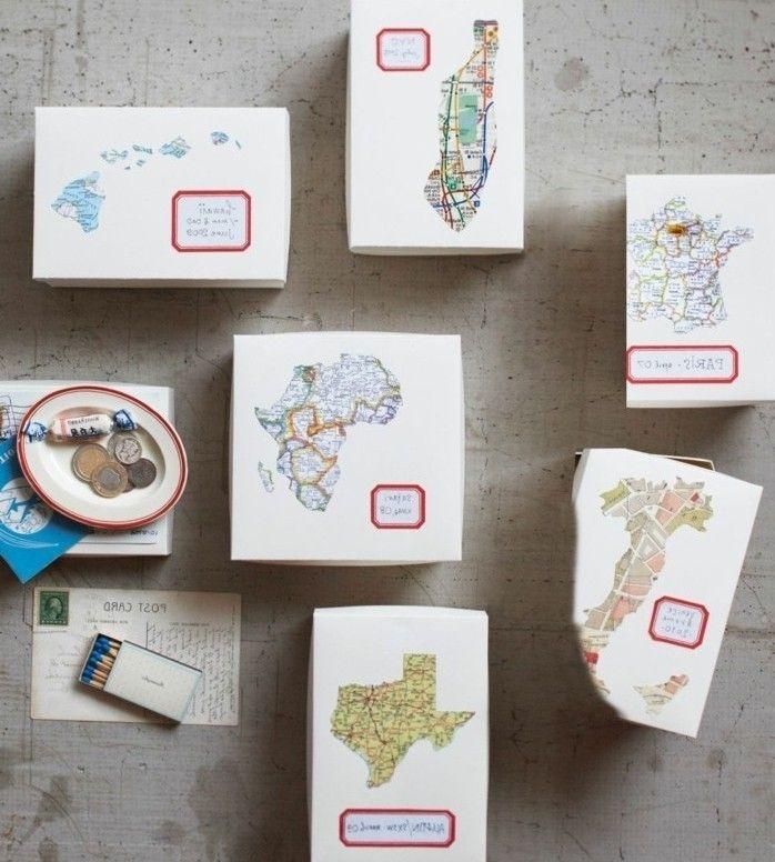 petites boîtes de souvenirs de voyages effectués, magnifique idée cadeau a faire soi meme