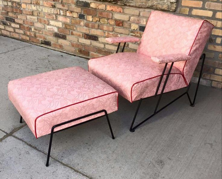 Wonderful pink Mid Century Modern armchair with ottoman
