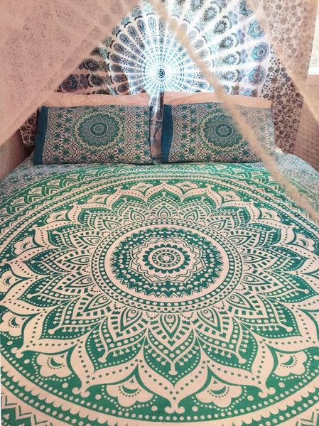 Bed Canopies – Queen Size Mandala Bed cover Ethnic Cotton Cover – a unique product by IndianCraftPalace on DaWanda