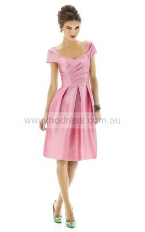 Short Sleeves Zipper Square Knee-length Taffeta Evening Dresses esfa307136--Hodress