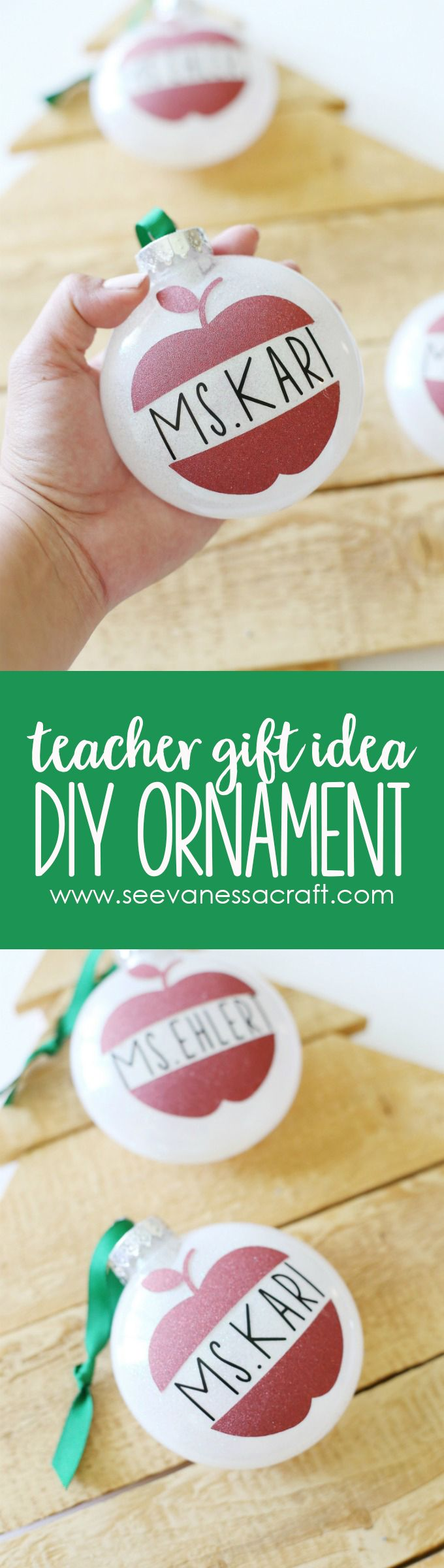 Getting a jumpstart on Christmas crafting with these DIY @Cricut glitter vinyl teacher ornaments!They'd make the perfect teacher holiday gift! #ad#CricutMade#CricutHoliday