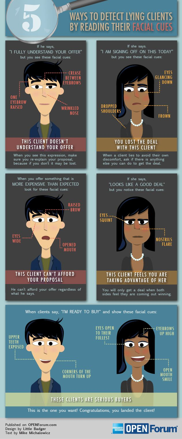 Hesitated in pinning this AMEX Open infographic. 1) b/c clients lying seems SO wrong and 2) b/c it pre-supposes that you'll be f2f with clients anyway.     5 Ways to Detect Lying Clients by Reading Their Facial Cues