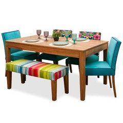 Juego de Comedor p/6 personas. Mesa en paraíso + 4 sillas + 1 banco