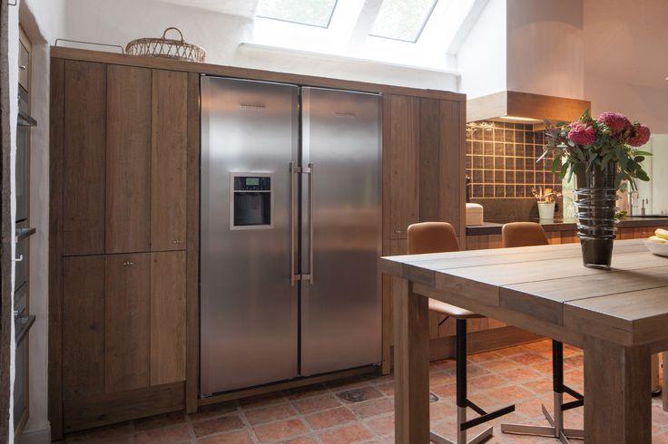 amerikaanse koelkast in houten keuken   Google zoeken   keukens   Pinterest   Tes, Om and Van