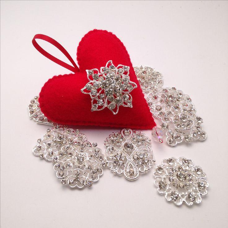 Hand stitched Rhinestone Felt Christmas Heart