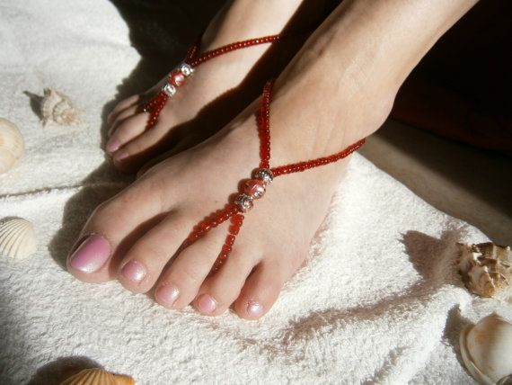 Red Barefoot Sandles  Barefoot sandals  Beaded by GlamorousSparkle, €15.00