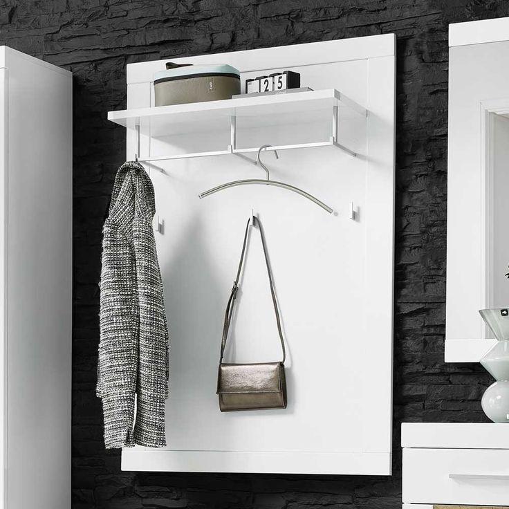 Garderobenpaneel Jaena in Weiß Hochglanz 80 cm breit mit Hutablage