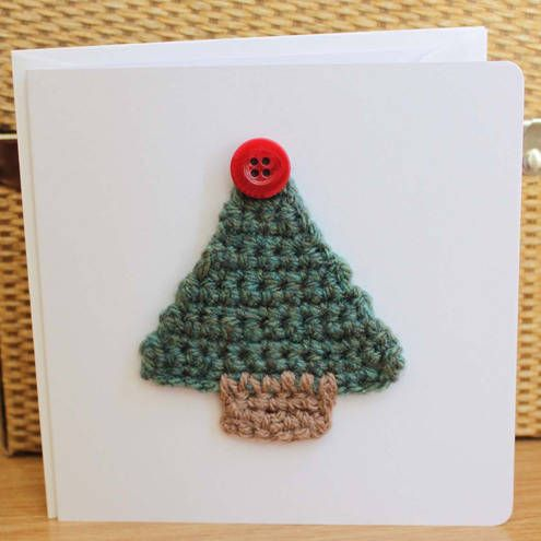 Christmas Card with Crochet Tree and Button Star