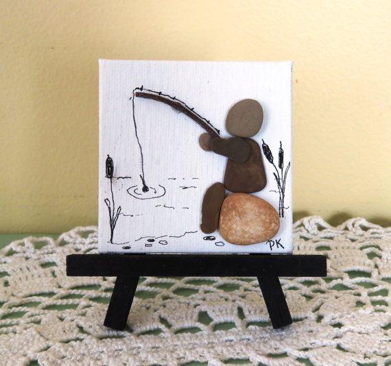 """Miniatura del guijarro del cuadro del arte """"El pescador"""" 3 """"X 3"""" en la lona con…"""