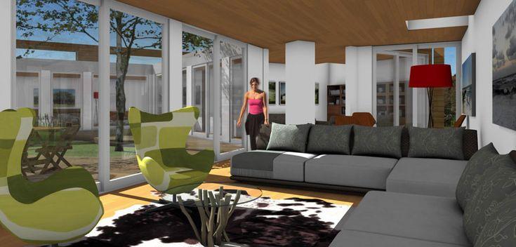 Living room of the ASAP•house L 2.6 three bedroom luxury modern prefab home
