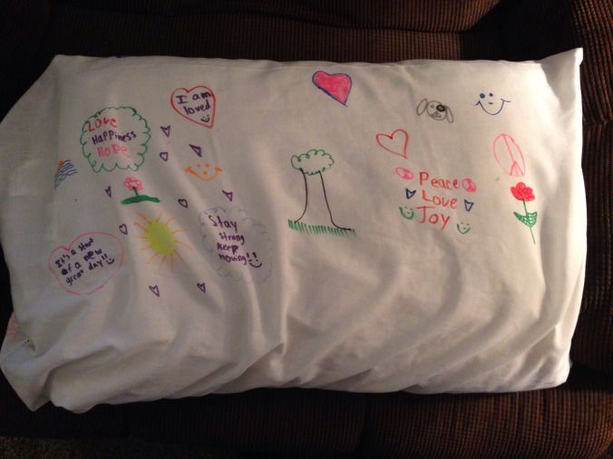 Safe place pillow case project: children decorate pillowcase with fabric markers with reminders of things to help them feel peaceful and calm before going to bed and first thing in the morning!