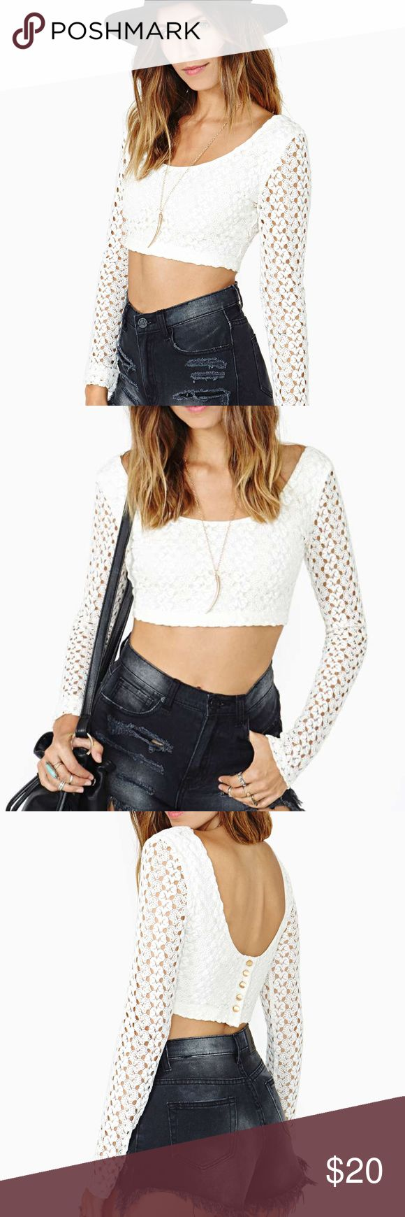 Nast Gal Festival Restless Lace Crop Top | AA28 Long Sleeve Ivory Lace Crop Top Gold Button Detailing in back Never Worn! Excellent Condition! Nasty Gal Tops Crop Tops